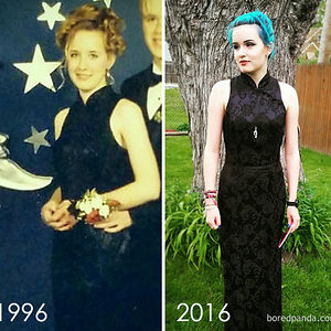 Me In 1996 And My Daughter, Zoe In 2016 Wearing The Same Prom Dress