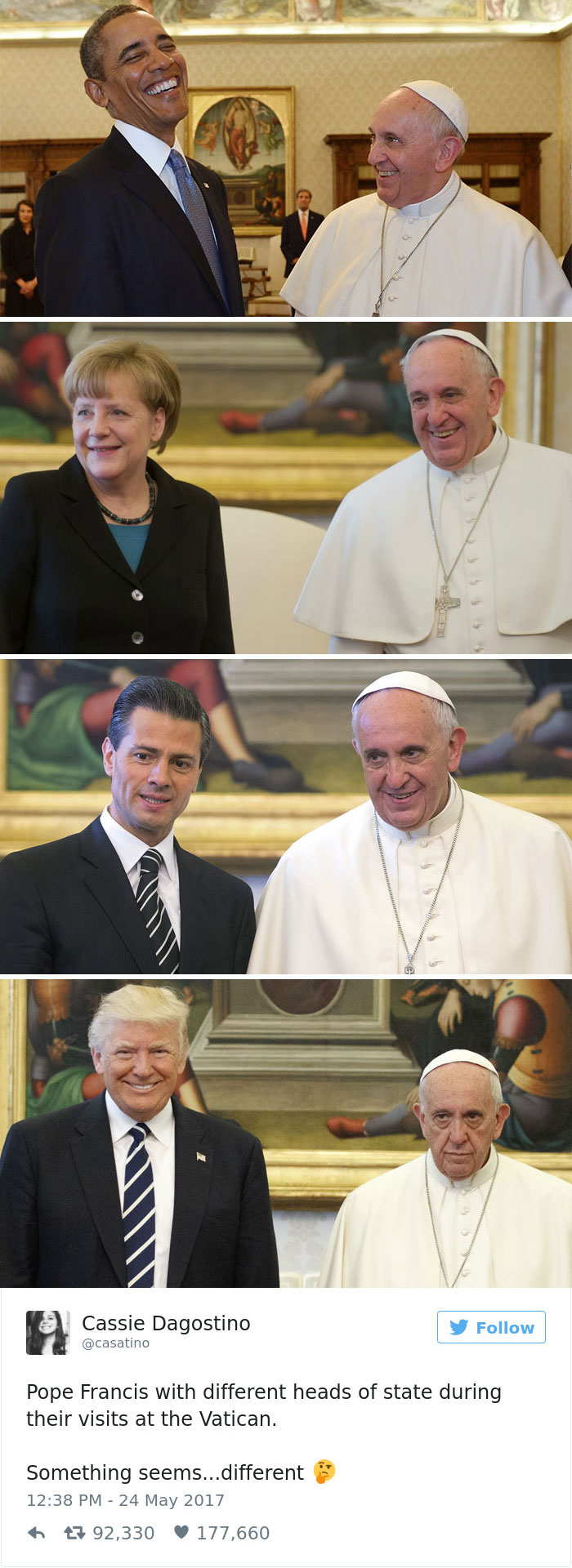 donald trump pope francis memes 16 59269410a1fbb__700 10 of the funniest reactions to super sad pope meeting the trumps,Pope Francis Trump Meme