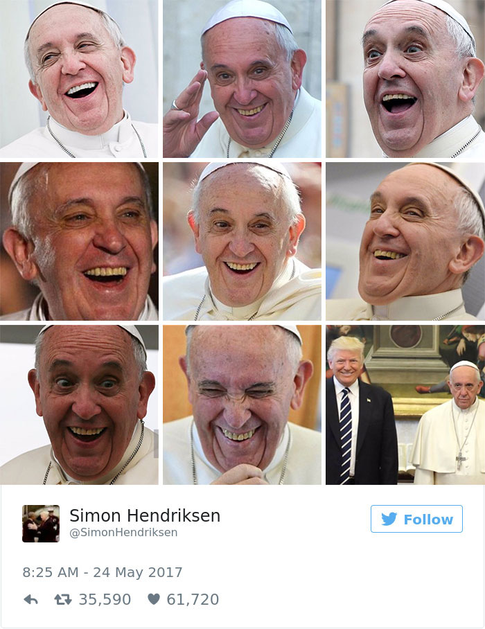 donald trump pope francis memes 19 592696c40b03e__700 10 of the funniest reactions to super sad pope meeting the trumps,Pope Francis Trump Meme