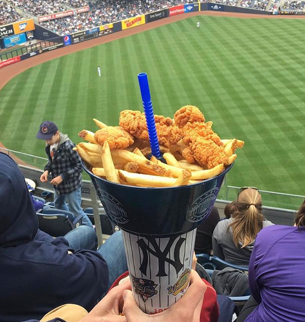 Bowl Of Chicken And Fries, With A Straw To Your Soda Through The Center. One Hand Holds All The Things, So You Can Eat With The Other