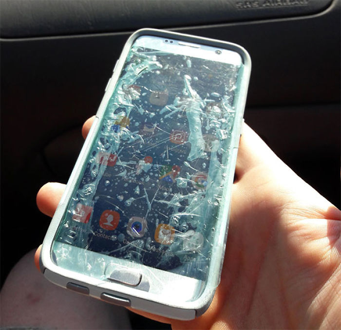 Traveling With My Mom. Saw Her Phone, And Investigated. Informed Her That She Used The Screen Protector's Throwaway Film Instead Of The Actual Screen Protector. She Literally Used Trash As A Screen Protector