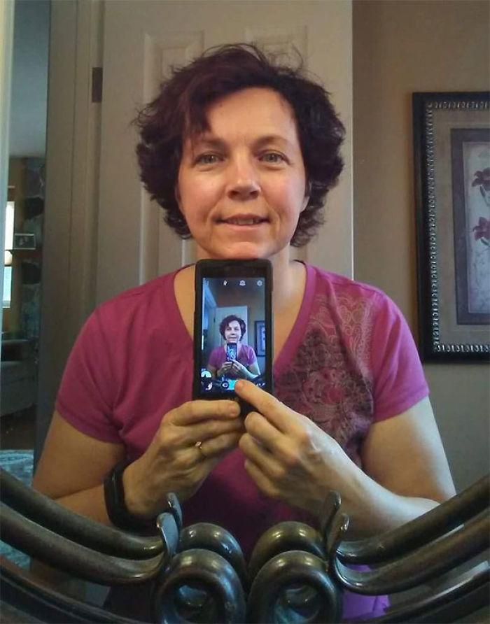 Así se hace un selfie mi madre de 54 años