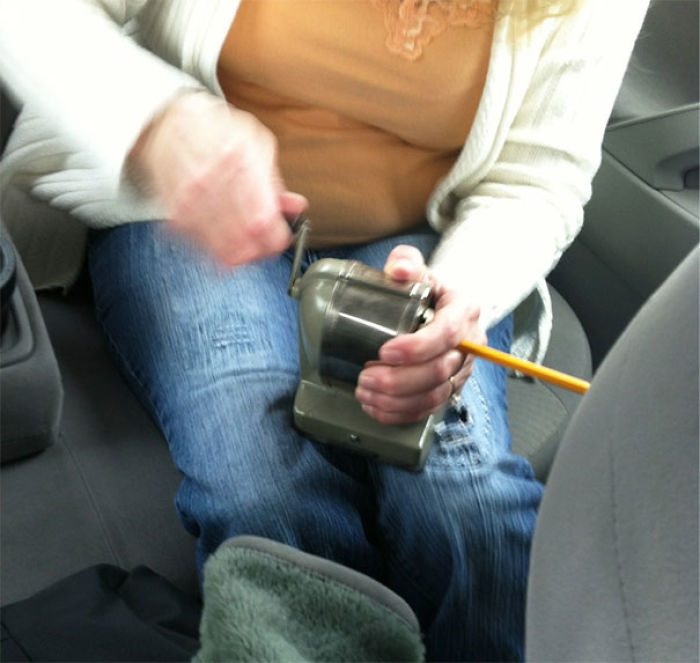 Pencil Broke During A Road Trip, So I Sarcastically Asked If Anyone Had A Pencil Sharpener, To Which My Mom Replied She