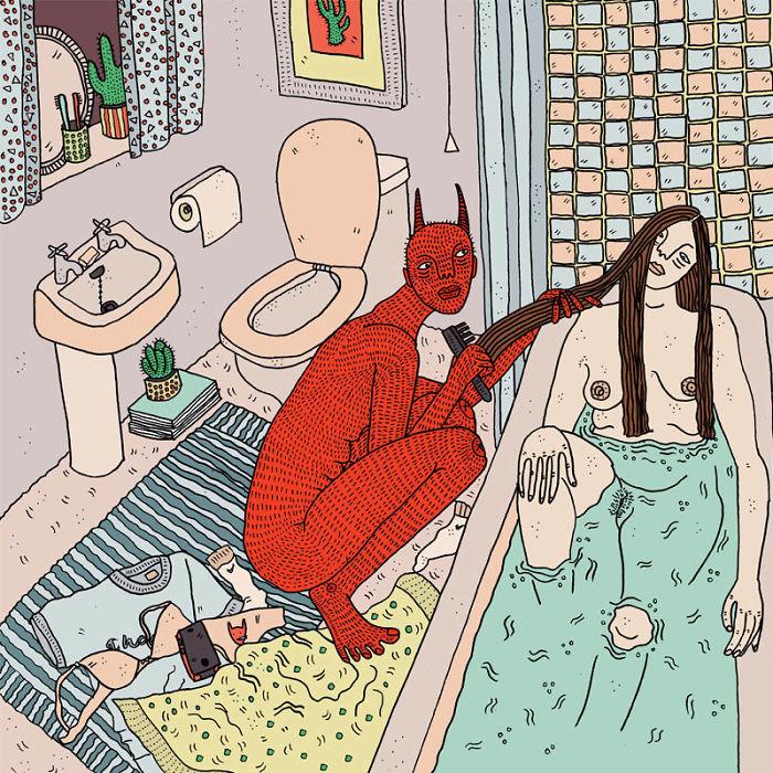 Girls-demons-illustrations-polly-nor