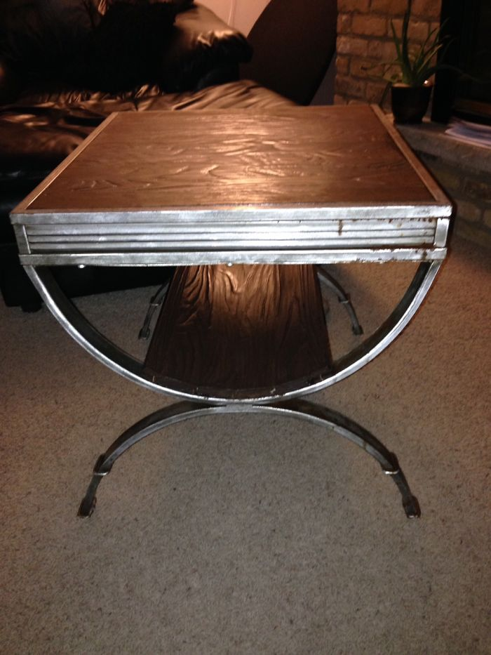 Junk Frame+scrap Wood Flooring =pretty Cool Table