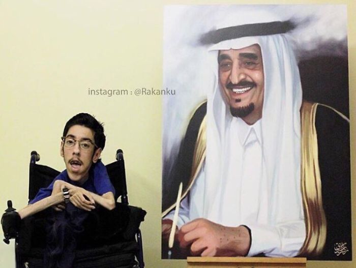 A Saudi Artist With Handicap Paints Wonderful Paintings
