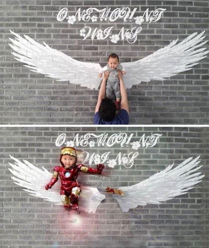 Por favor, borradme de la foto para que parezca que el niño vuela