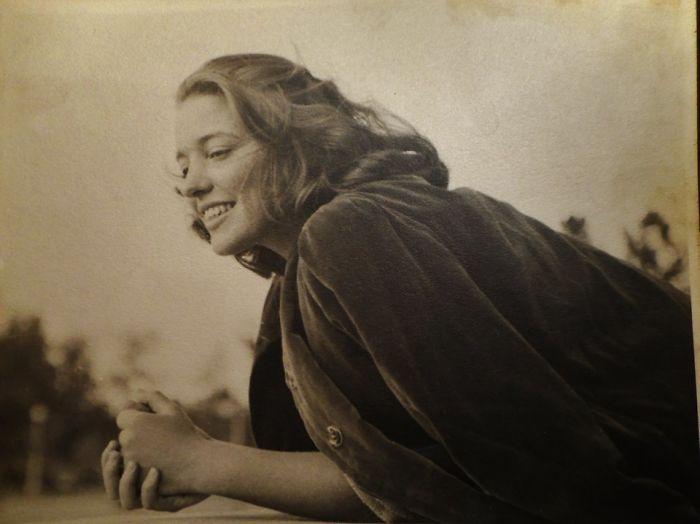 My Mom In Her 20s Looking Glamorously Casual In Her Velvet Coat.