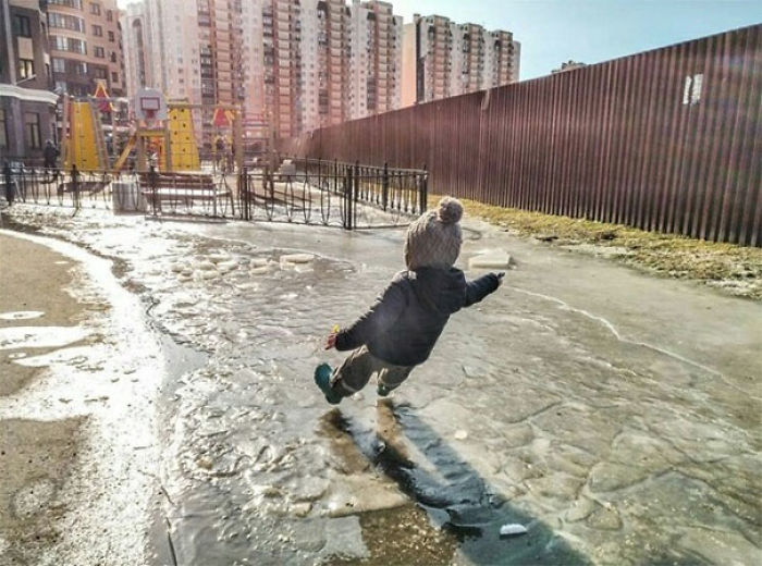 In A Rush To Get To The Playground, He Might Have Forgotten About The Ice