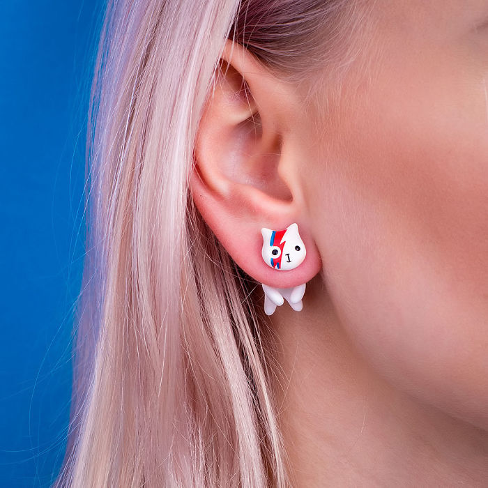 David Bowie Cat Pop Earrings