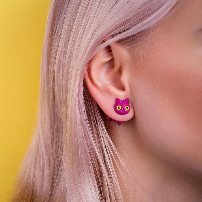 Purple Cheshire Cat Earring