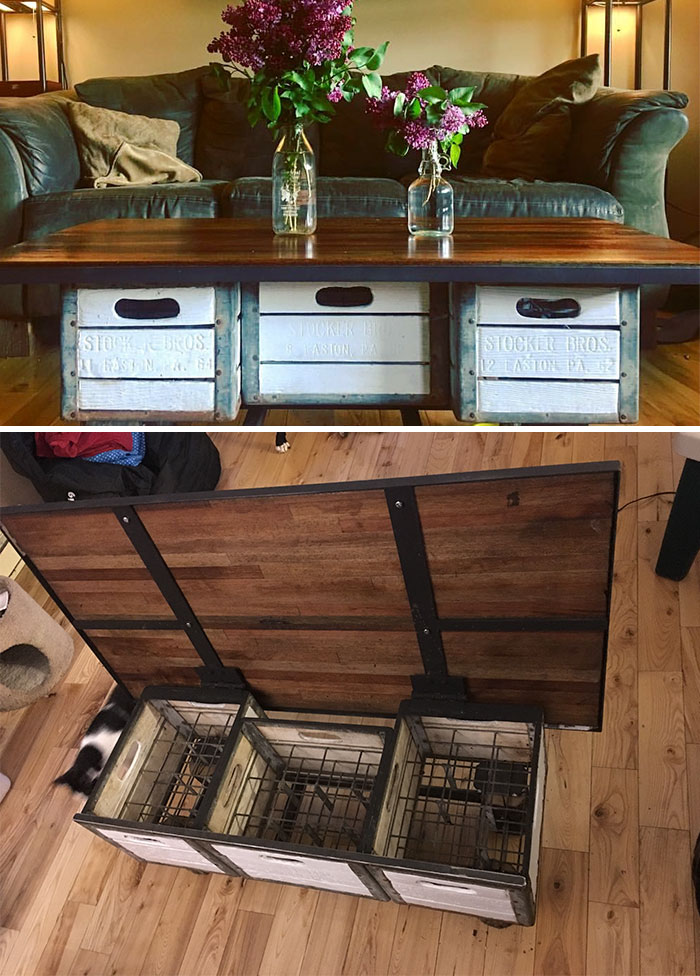 Needed A Place To Stash My Wine And A Coffee Table... Solved Both Problems With Some Milk Crates, Salvaged Truck Flooring And Some Scrap Steel