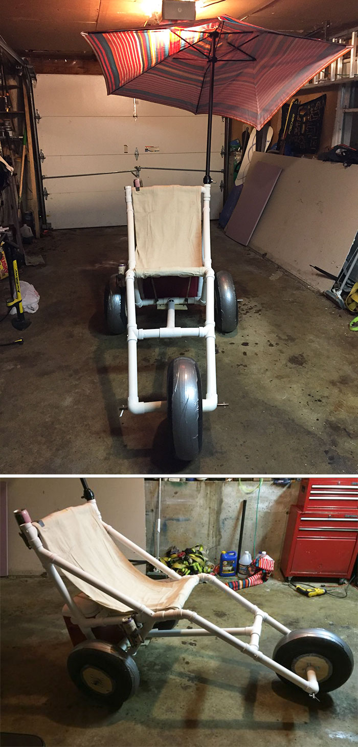 Mother-In-Law Has A Bad Hip And Was Sad That She Wouldn't Be Able To Walk To The Beach To Hang Out With The Family For The Fourth Of July Week. So I Made A Surprise For Her - A Beach Wheel Chair That Only Cost Me Around $140 To Make (They Sell Online For $1200+)
