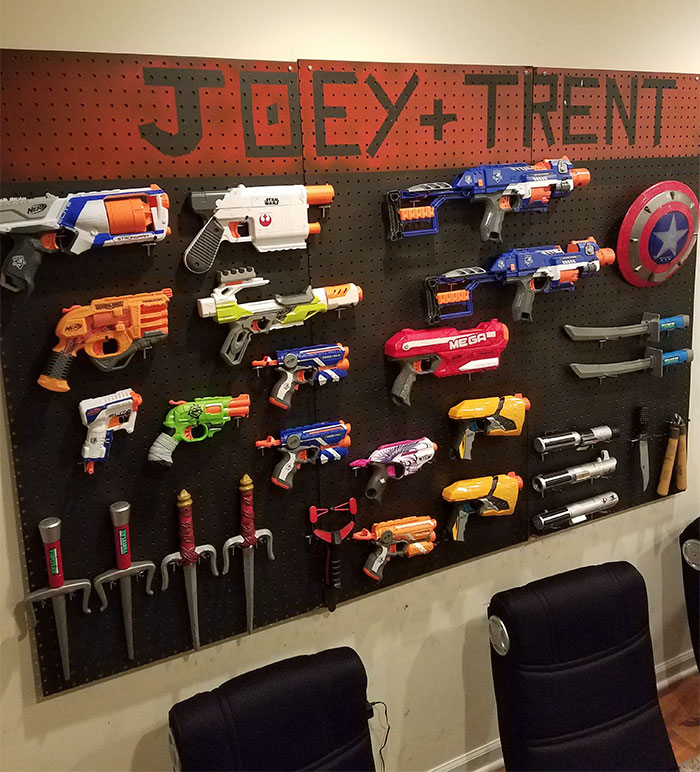 Created An Arsenal For My Kids Nerf Collection. It's Not Prefect, Or Professional By Any Means, But It Keeps Their Crap Off The Floor