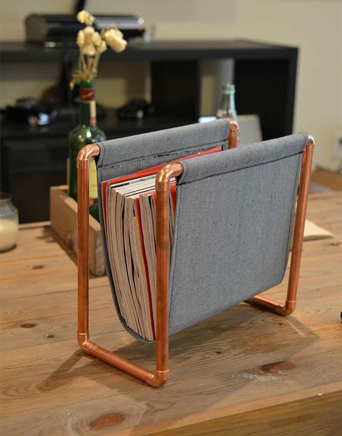 I Made A Simple DIY Magazine Rack Using Copper Pipe And Denim Cloth