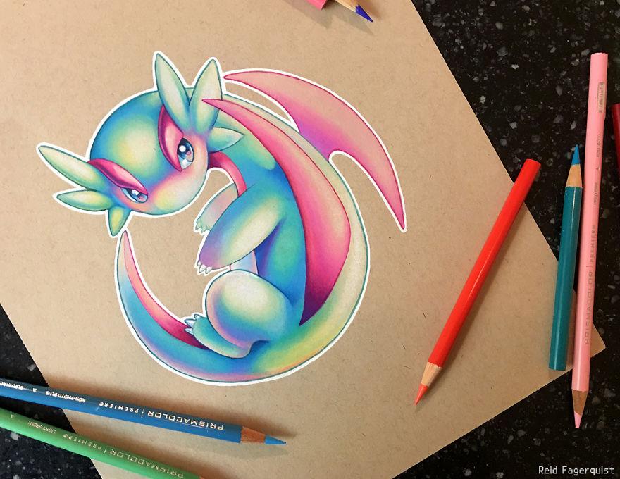 Dibujos De Pokemon A Color: I Create Prismatic Pokemon Art With Colored Pencils