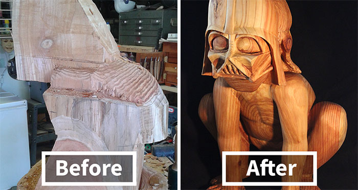 Little Sith Preschooler: I Carved My 4-Year-Old Son's 1:1 Sculpture With His Favorite Darth Vader Mask