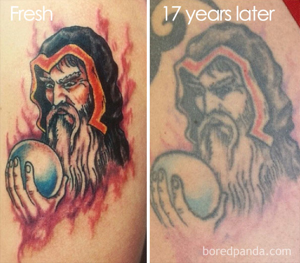 15+ Before & After Pics Reveal How Tattoos Age Over Time | Bored Panda
