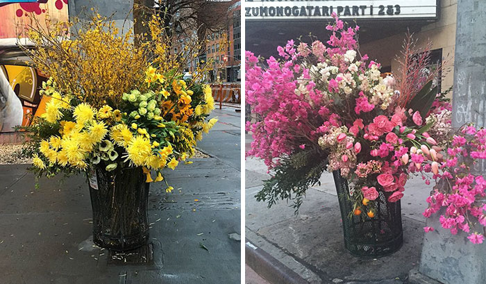 Crime Or Art? Someone Is Turning NYC Trash Cans Into Giant Vases Filled With Flowers