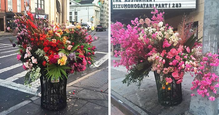 Crime Or Art Someone Is Turning Nyc Trash Cans Into Giant Vases