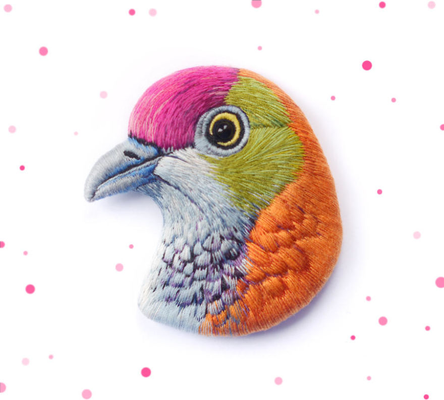 Embroidered Bird Brooches By Paulina Bartnik