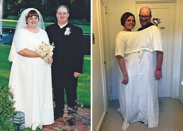 Obese Bride Lost 200 Lbs And Now,on Her 16th Wedding Anniversary, She Can Wear Her Wedding Dress Together With Her Husband