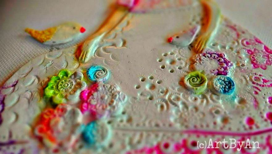 i create whimsical art out of air dry clay paper and water color