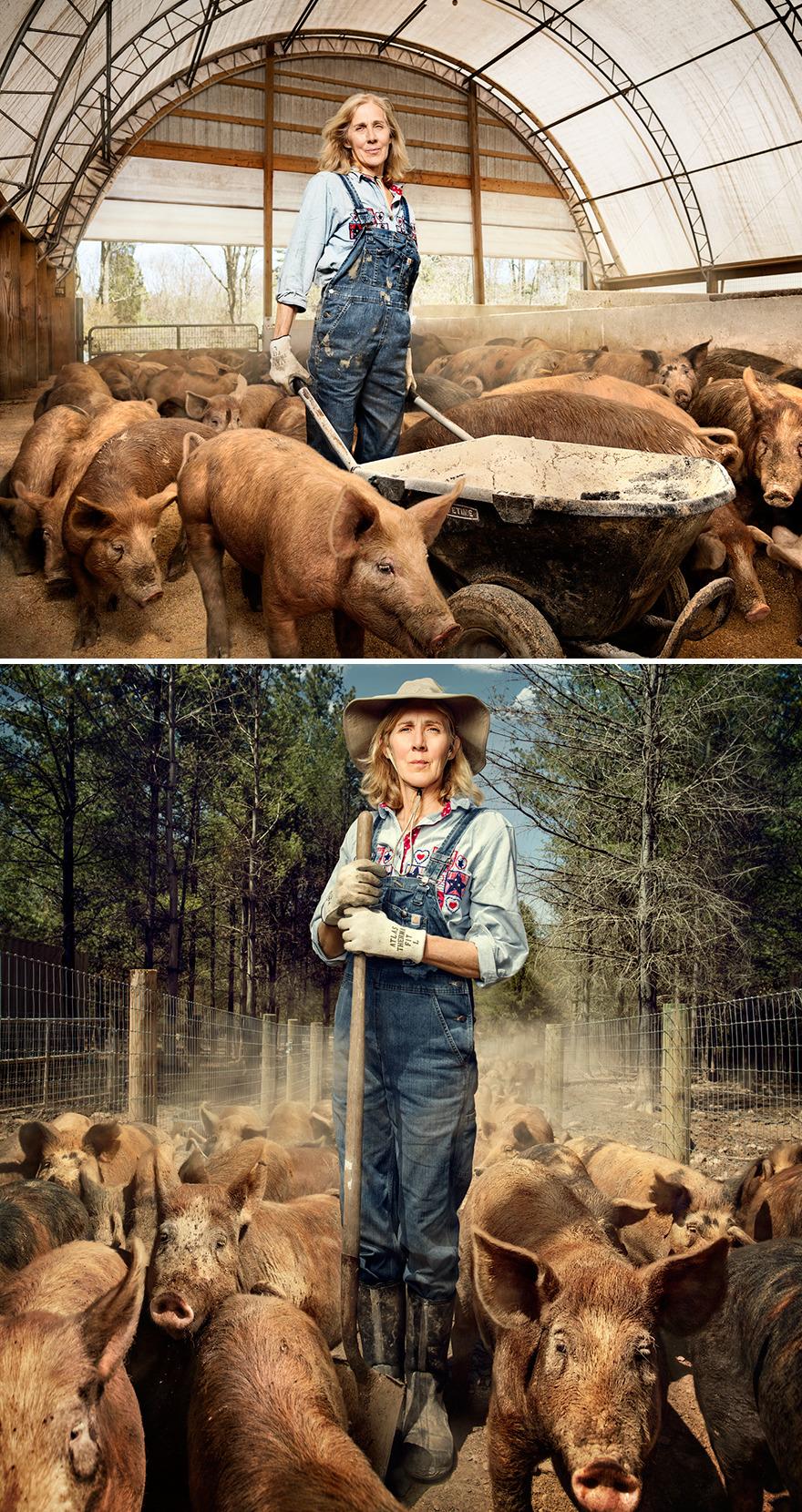 Nancy Poli, Pig Farmer At Stryker Farms In Saylorsburg, Pennsylvania
