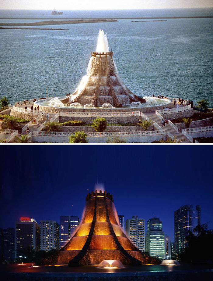 Fuente volcán, Abu Dhabi, Emiratos Árabes (Demolida)
