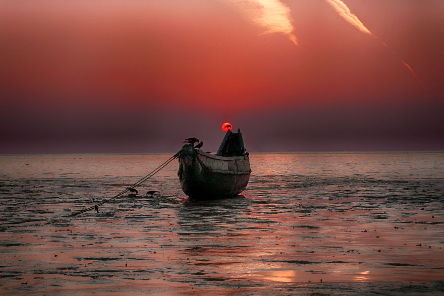 Sun Set Behind The Creow - Kattali Beach, Chittagong, Bangladesh