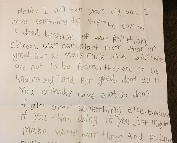10-Year-Old Gets Fed Up With Idiots Hurting The Planet And Writes Open Letter To Humanity