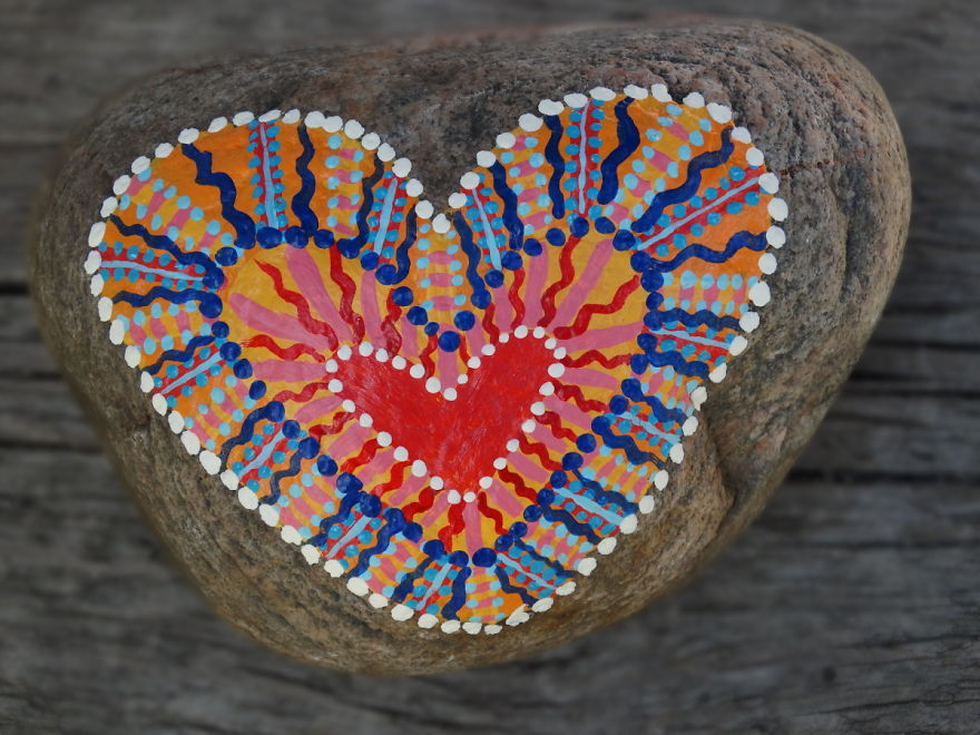 Heavy, Colourful Rock Art... In Other Words, More Painted Hearts On Rocks