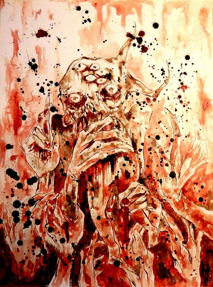 The Artist Who Paint Nightmares With His Own Blood -maxime André Taccardi