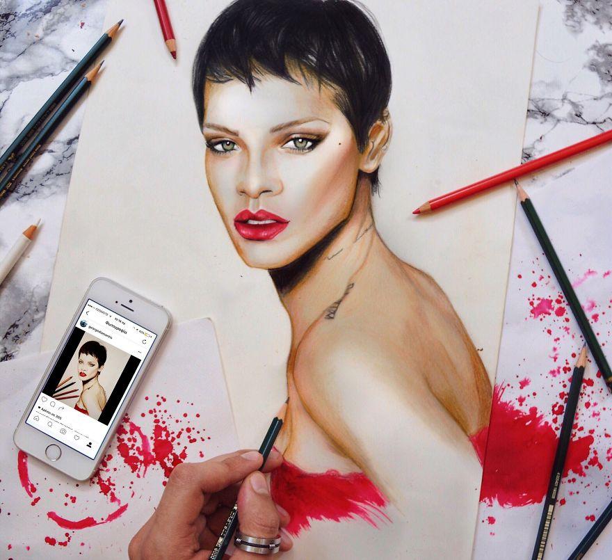 Rihanna Progress Drawing With Coloured Pencils