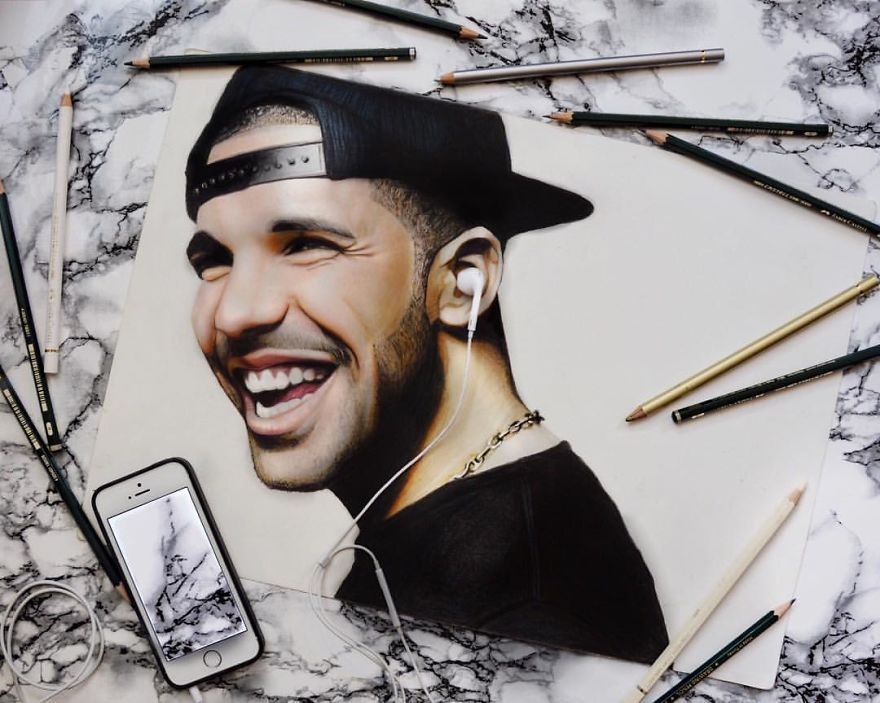 Drake Drawn With Coloured Pencils