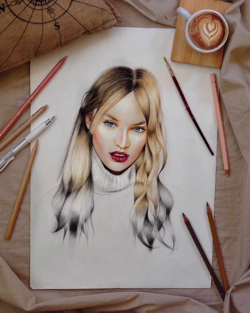 Candice Swanepoel Drawn With Coloured Pencils
