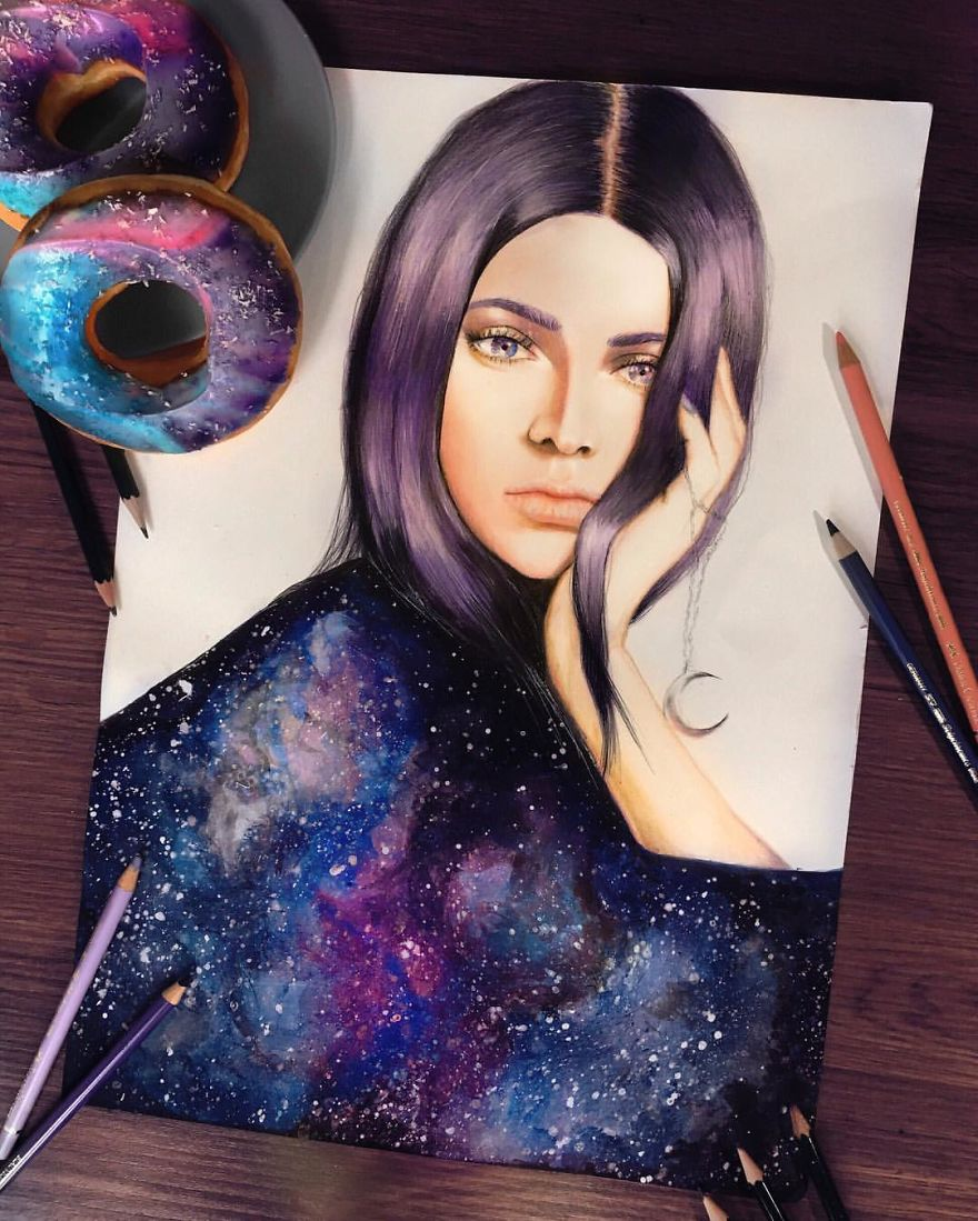 Kendall Jenner Drawn With Coloured Pencils And Water Colours