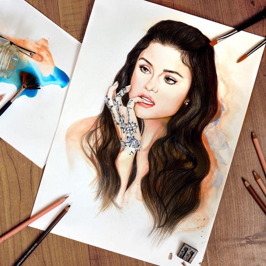 Selena Gomez Drawn With Coloured Pencils