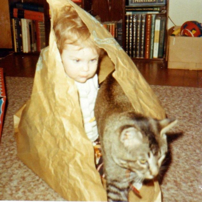 Baby Me With First Cat-hanging Out In Paper Bags, Circa 1969.