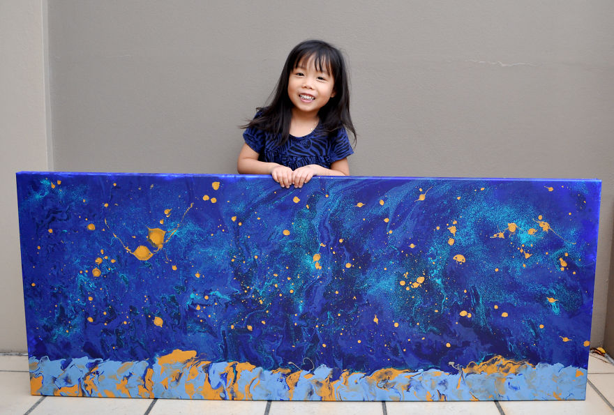 5-Year-Old Has Donated Over $750 To Charity By Painting Galaxies