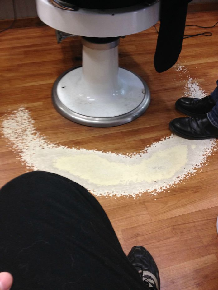 My Barbers Floor After Years Of Shuffling Around The Chair
