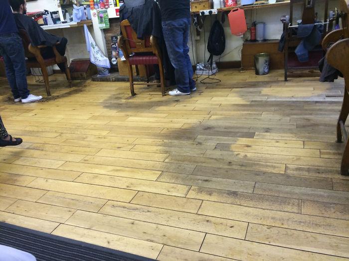 Barbershop Floor Worn Away After Decades Of Barbering