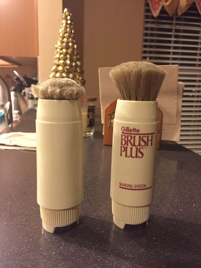 Dad Ordered A Vintage, Unused Version Of The Same Shaving Brush He's Been Using For The Past 30 Years. Here's The Difference Between The Old And New One