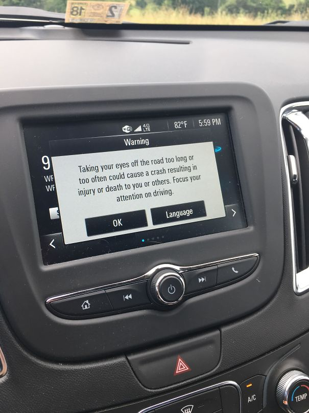 Very Long Message Warning (While Driving) Not To Take Your Eyes Off The Road For Too Long