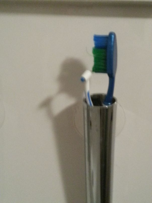 So Apparantly My Toothbrush's Shadow Pays Attention To Its Oral Hygiene As Well