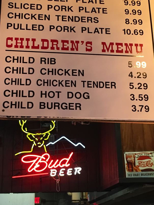 Yes, I'll Have One Child Rib Please, Along With A Child Burger