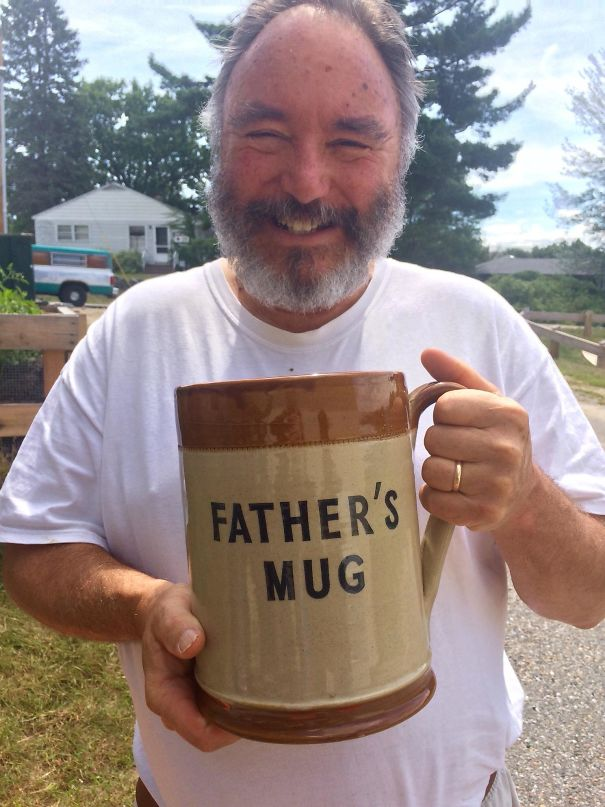 My Dad With The Ridiculous Thrifted Mug I Got Him
