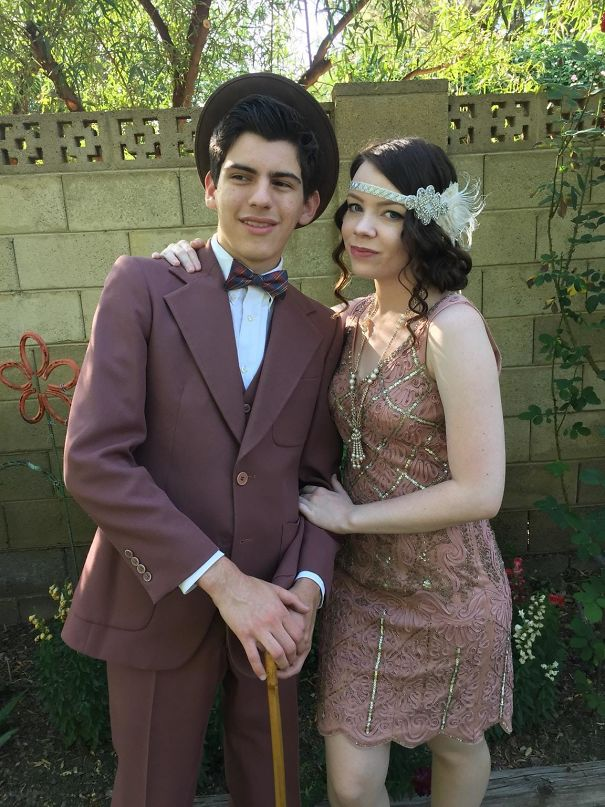 Prom Night! Our Outfits And Accessories, Minus The Headband And Hat, Are Entirely Thrifted