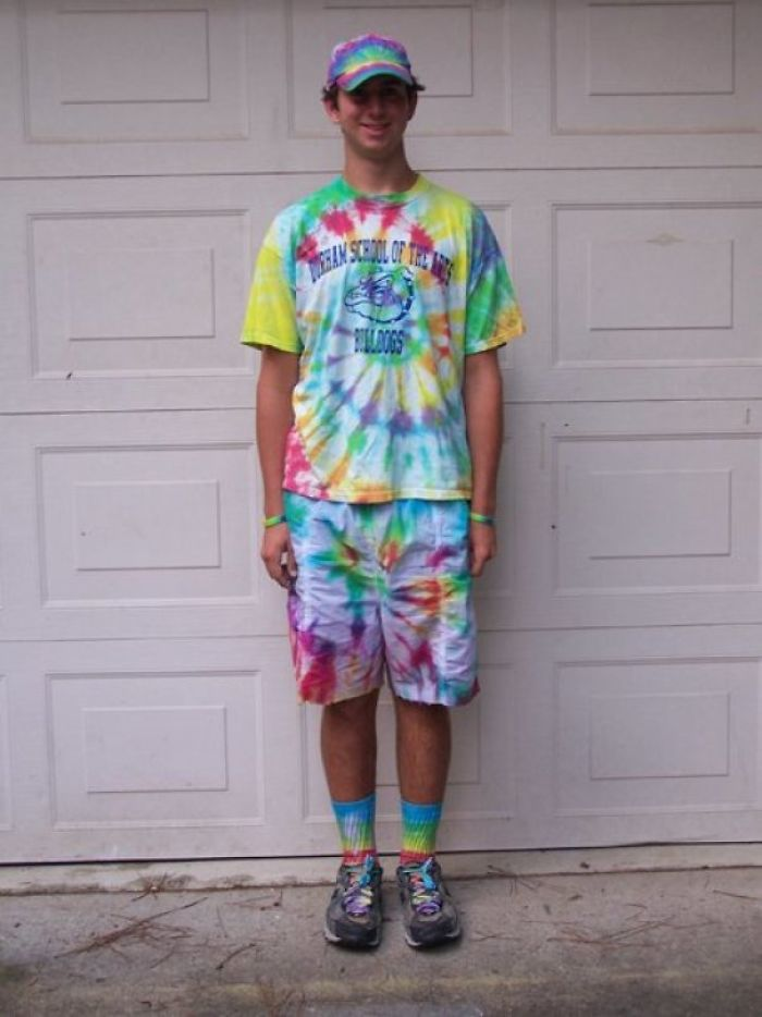 First Day Of School Junior Year. And Yes, My Boxers Were Also Tie Dye