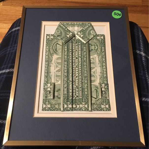 This Framed Art Piece, Made With Six Uncut Dollar Bills, Cost Me 50 Cents At A Yard Sale